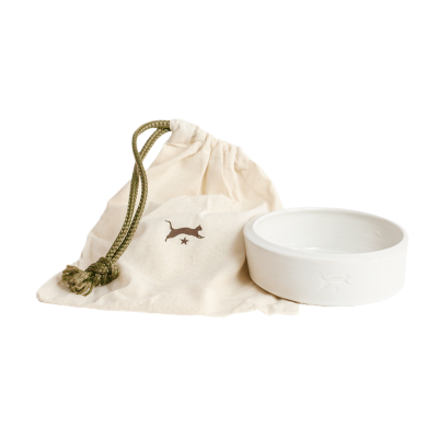 Ceramic cat bowl - white